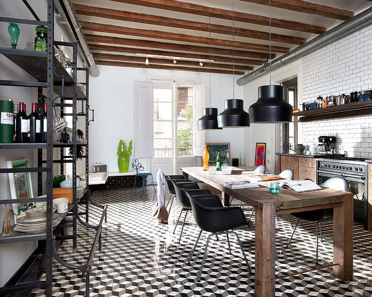 Baldosas Baño Negras:Industrial Kitchen Dining Room Design