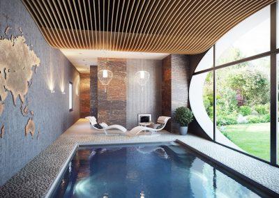 indoor-swimming-pool-modern-chandelier-pool-lounge-bed